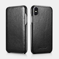 Черный кожаный чехол книжка для iPhone XS Max 6.5 - iCarer Curved Edge Luxury Series Black
