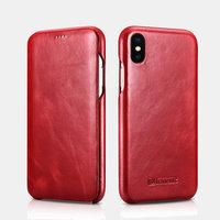 Красный кожаный чехол книжка для iPhone XS Max 6.5 - iCarer Curved Edge Vintage Folio Case Red