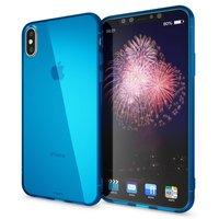 Голубой прозрачный силиконовый чехол для iPhone XS Max 6.5