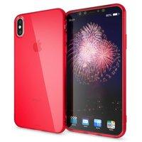 Красный прозрачный силиконовый чехол для iPhone XS Max 6.5