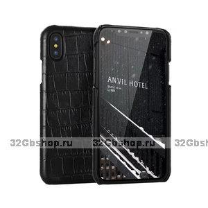 Черный чехол из кожи крокодила для iPhone XS Max 6.5