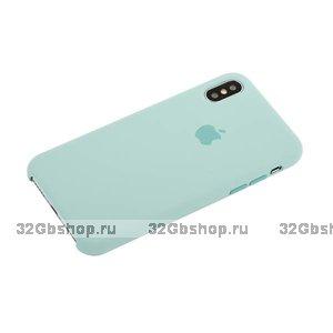 Бирюзовый Силиконовый чехол для Apple iPhone X / Xs 10 Silicone Case