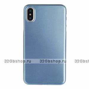 Голубой пластиковый чехол для iPhone XS Max 6.5