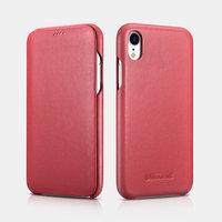 Красный кожаный чехол книга для iPhone XR - i-Carer Curved Edge Luxury Series Red