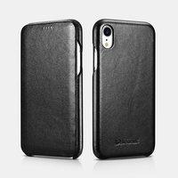 Черный кожаный чехол книжка для iPhone XR - i-Carer Curved Edge Luxury Series Black