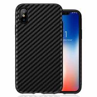 Черный карбоновый силиконовый чехол для iPhone XS Max 6.5