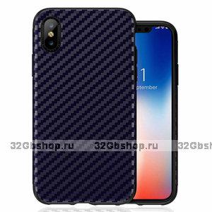 Синий карбон силиконовый чехол для iPhone XS Max 6.5