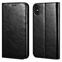 Черный кожаный чехол книжка кошелек для iPhone XS Max 6.5