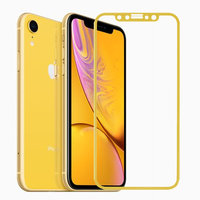 Противоударное защитное 3D стекло для iPhone XR с желтой рамкой - 3D Curvy 9H Tempered Glass Yellow