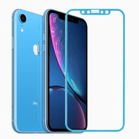 Защитное противоударное 3D стекло для iPhone XR с голубой рамкой - 3D Curvy 9H Tempered Glass Blue