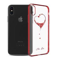 Пластиковый чехол со стразами для iPhone XS Max 6.5 с красным бампером - KINGXBAR The One Red