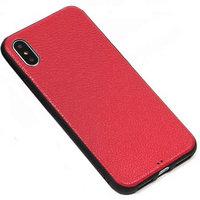 Красный силиконовый чехол фактура кожи для iPhone XS Max 6.5