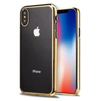 Прозрачный силиконовый чехол для iPhone XS Max 6.5 с золотым бампером