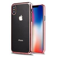 Прозрачный силиконовый чехол для iPhone XS Max 6.5 с бампером розовое золото