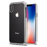 Прозрачный силиконовый чехол для iPhone XS Max 6.5 с серебряным бампером