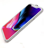 Серебряный алюминиевый бампер со стразами для iPhone XS Max 6.5