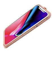 Золотой алюминиевый бампер со стразами для iPhone XS Max 6.5