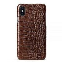 Коричневый чехол из кожи крокодила для iPhone XS Max 6.5 брюхо