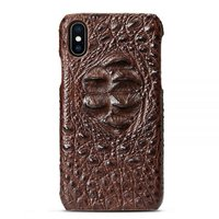 Коричневый чехол из крокодиловой кожи для iPhone XS Max 6.5 хребет