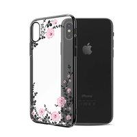 Пластиковый чехол со стразами для iPhone XS Max черный с рисунком цветы  - KINGXBAR Flowers Black