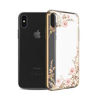Пластиковый чехол со стразами для iPhone XS Max золотой с рисунком цветы  - KINGXBAR Flowers Gold