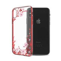 Пластиковый чехол со стразами для iPhone XS Max красный с рисунком цветы  - KINGXBAR Flowers Red