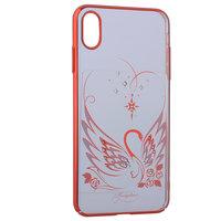 Пластиковый чехол со стразами с рисунком лебедь для iPhone XS Max красный бампер - KINGXBAR Swan Red