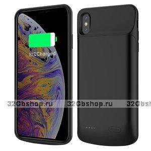 Черный чехол батарея для iPhone XS Max - Power Bank External Charger Case 6000mAh