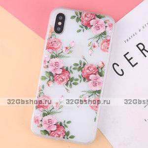 Прозрачный силиконовый чехол для Apple iPhone XS Max 6.5 с рисунком цветы