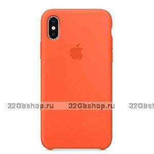 Оранжевый силиконовый чехол Silicone Case Orange для Apple iPhone XS Max 6.5