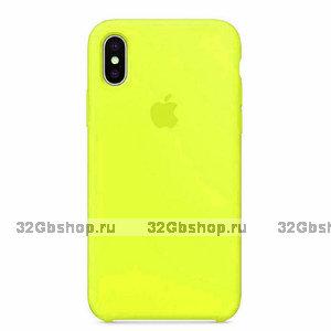 Желтый силиконовый чехол Silicone Case Yellow для Apple iPhone XS Max 6.5