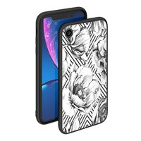 Чехол закаленное стекло Deppa Glass Case для iPhone XR рисунок Белые цветы