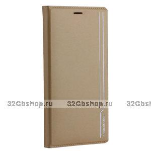 Чехол - книжка кожаный Peacocktion для iPhone XS Max Royal Series Золотистый
