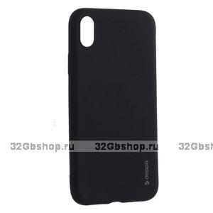 Черный металик силиконовый чехол для iPhone XR - Deppa Case Silk TPU Soft Touch Black 1мм