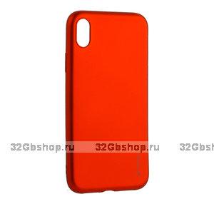 Красный металик силиконовый чехол для iPhone XR - Deppa Case Silk TPU Soft Touch Red 1мм