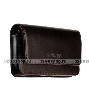 Чехол-кобура кожаный для iPhone XR Valenta Arezzo с двойным креплением на ремень коричневый