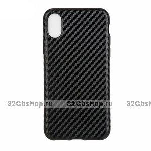 Черный силиконовый чехол для iPhone XR рисунок карбон