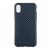 Синий силиконовый чехол для iPhone XR рисунок карбон