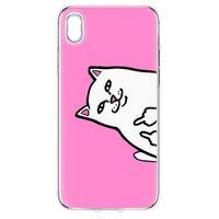 Прозрачный силиконовый чехол для iPhone XR - Transparent Silicone Case рисунок Белый кот