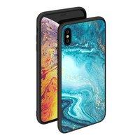 Чехол закаленное стекло для iPhone XS Max бирюзовый Deppa Glass Case Blue