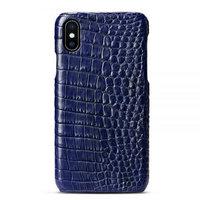 Синий чехол из кожи крокодила для iPhone XS Max 6.5 брюхо