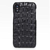 Черный чехол из кожи крокодила для iPhone XS Max 6.5 спинка