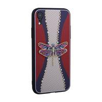 Силиконовая накладка TOTU Dancing Dragonfly для iPhone XR фиолетовая стрекоза