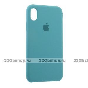 Бирюзовый силиконовый чехол для Apple iPhone XR Silicone Case Blue