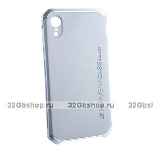 Серебряный защитный пластиковый чехол для iPhone XR с алюминиевыми вставками Element Case Solace AL&Pl Silver