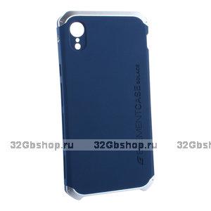 Синий защитный пластиковый чехол для iPhone XR с алюминиевыми вставками Element Case Solace AL&Pl Blue