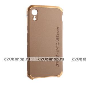 Золотой защитный пластиковый чехол для iPhone XR с алюминиевыми вставками Element Case Solace AL&Pl Gold