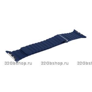 Синий кожаный ремешок COTEetCI Leather Magnet Band Blue для Apple Watch 44мм / 42мм