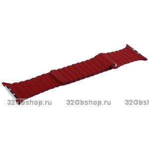 Красный кожаный ремешок COTEetCI Leather Magnet Band Red для Apple Watch 44мм / 42мм