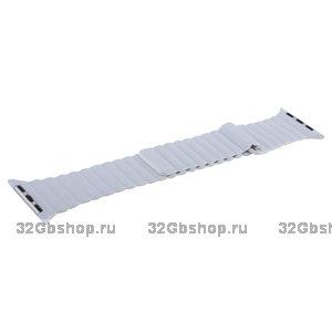 Белый кожаный ремешок COTEetCI Leather Magnet Band White для Apple Watch 44мм / 42мм